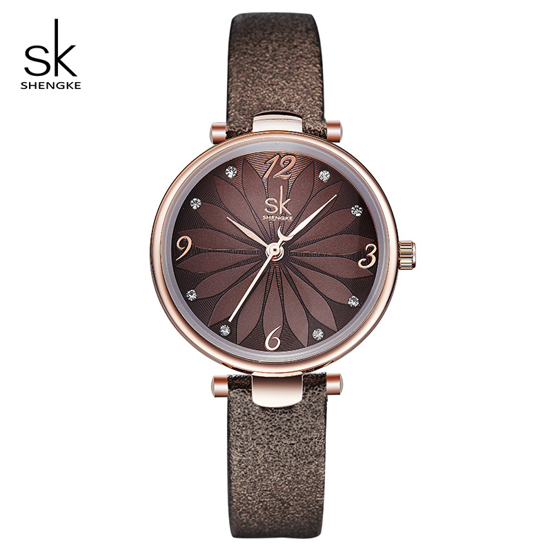 Shengke Creative Flower Dial Women Watches Casual Leather Female Watch Reloj Mujer 2018 SK Ladies Quartz Wristwatches #K8047
