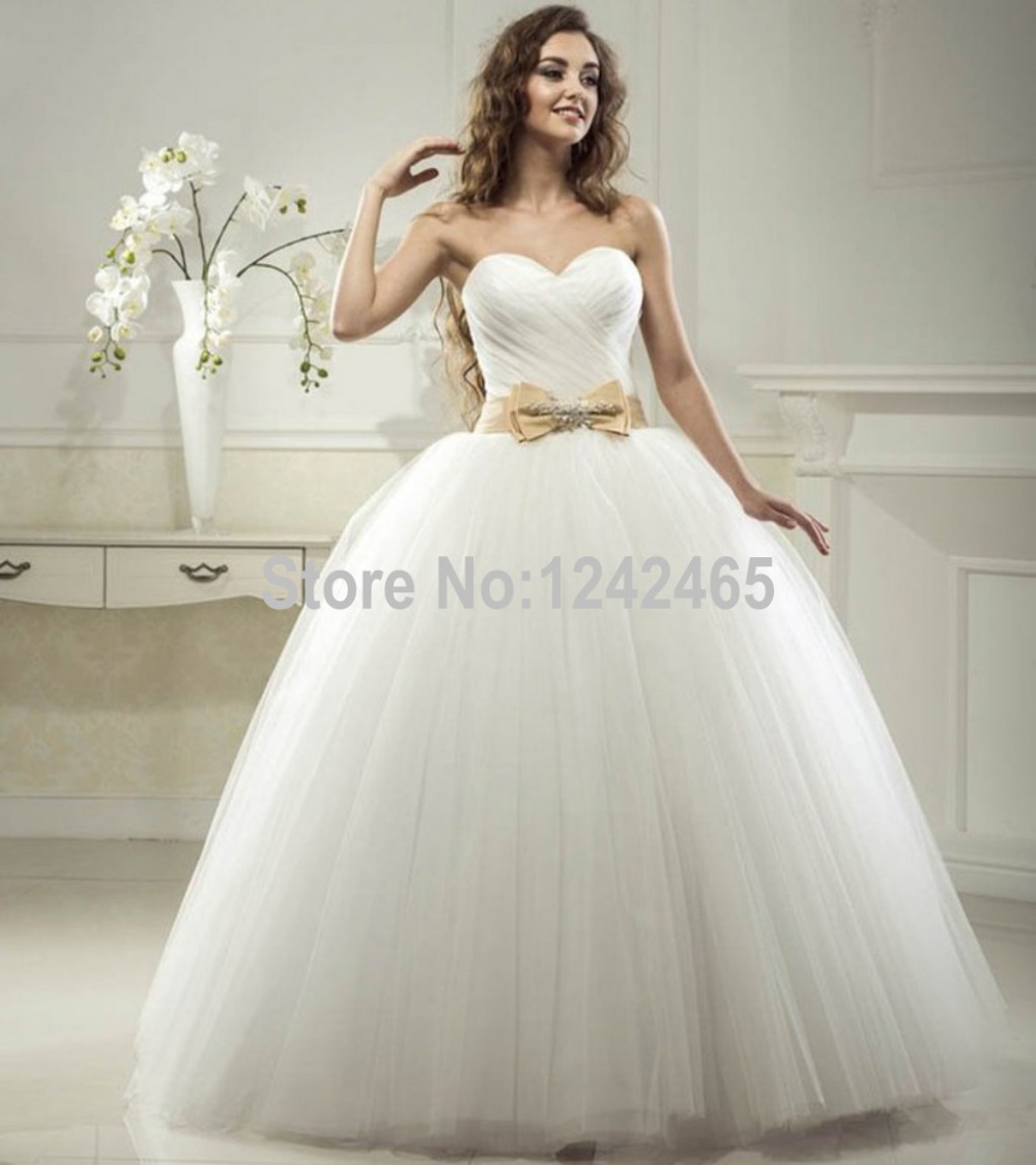 Puffy Bride Dresses Ball Gown Sweetheart Corset Back Floor Length ...