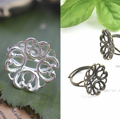 10X With 20mm Wholesale Silver Plated Adjustable Ring Blank Base Jewelry Flower-shaped Pad For DIY Jewelry Making