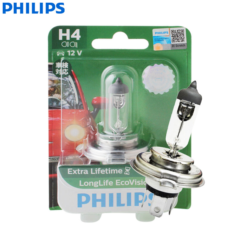 Philips LongLife Eco Vision <font><b>H4</b></font> 9003 12V <font><b>60</b></font>/<font><b>55W</b></font> P43t 12342LLECOB1 Car Halogen Head Light <font><b>Lamp</b></font> Auto Bulb High Low Beam (Single) image