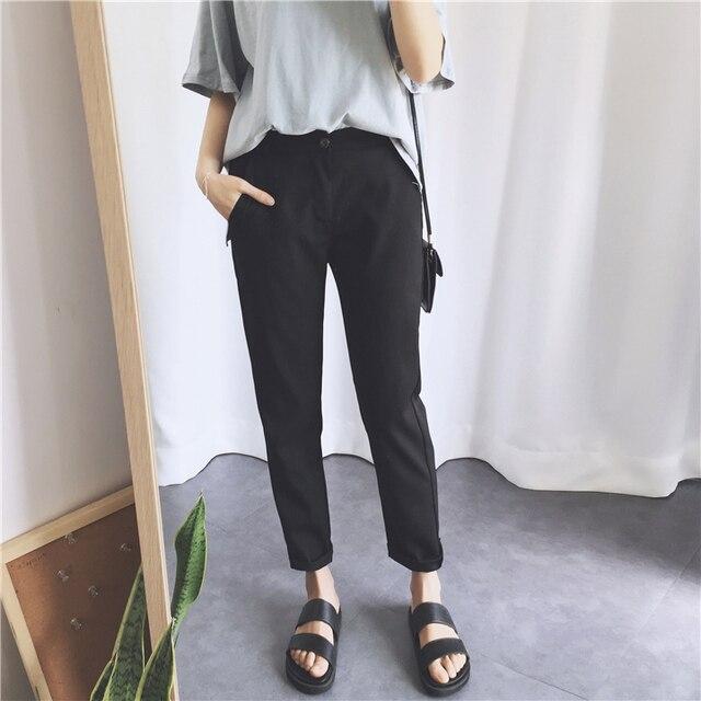 e659d2a8b09a PAROLLADA Women Fashion Harem Pants Black Pants Casual Summer Roll-up Ankle  Pants