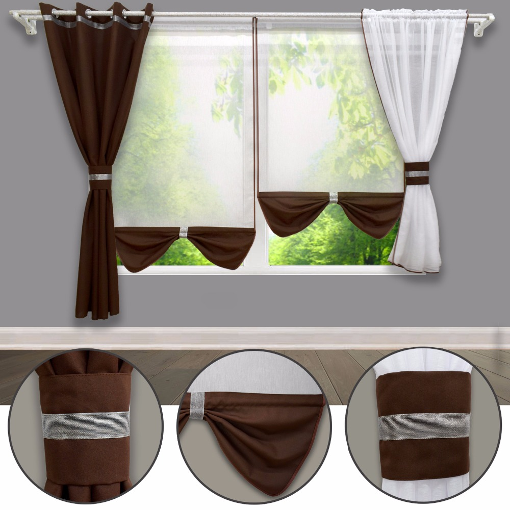 Modern Double-deck Curtain For Bed Room Window And Balcony Window With 4 Pieces White Tulle Fabric And Color Heavy Fabric