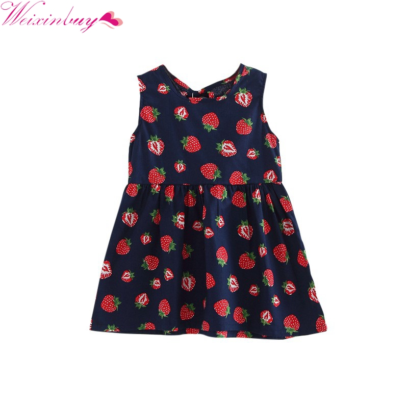 Toddler Girl A-line Summer Dress Sleeveless Floral Printed Kid Soft Cotton Dresses For 1-5Y 2017 new infant kids girls child a line dress sleeveless floral printed kid princess party dance evening vestido 1 5y s2