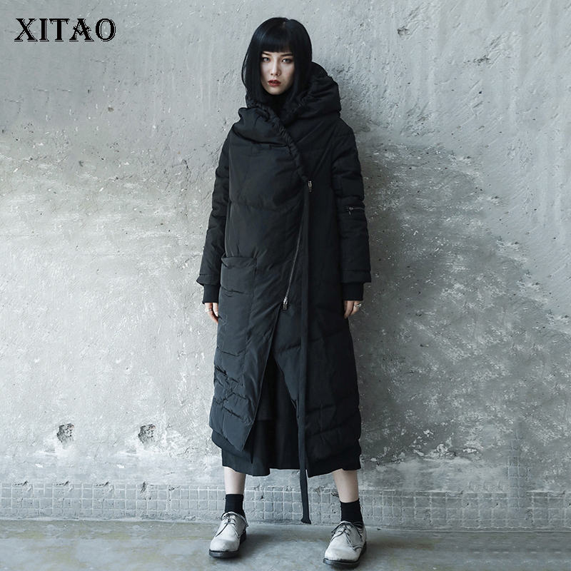 [XITAO] Asymmetrical Women 2018 Winter Full Sleeve Korea Fashion New Solid Color Long Thick Pleated Loose Casual   Parka   LYH2392