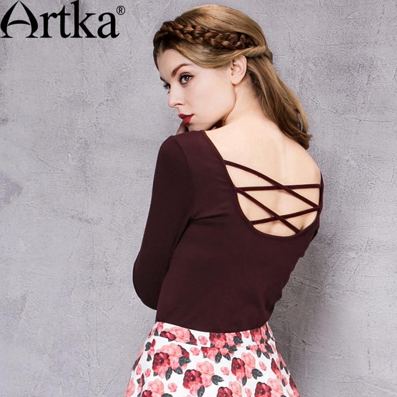 Artka Women s Autumn New Solid Color Slim Fit T shirt Comfy V Neck Backless Cross