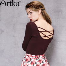 Artka Women's Autumn New Solid Color Slim Fit T-shirt Comfy V-Neck Backless Cross-belt Long Sleeve All-match T-shirt TA10260Q