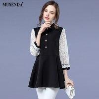 MUSENDA Plus Size Women Black Chiffon White Lace 3 4 Sleeve Patchwork Blouse 2018 Spring Female