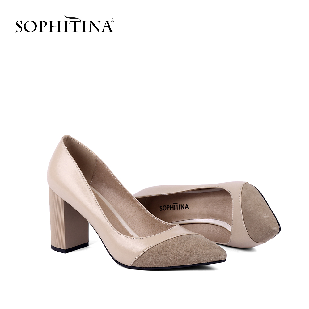 SOPHITINA Comfotable Square Heels Pumps Slip-on Fashion Pointed Toe Shallow New Pumps High Quality Kid Suede Women's Shoes SC141