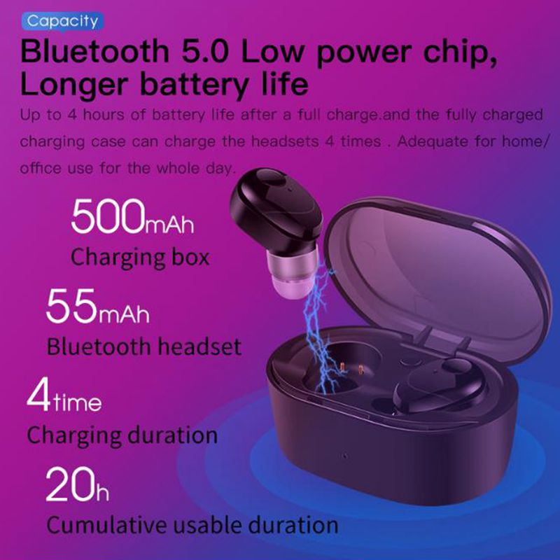 New A7 TWS Mini Wireless Bluetooth Earphone CVC6 0 Noise Reduction Stereo Music HIFI Waterproof Handsfree Bluetooth Earphone in Bluetooth Earphones Headphones from Consumer Electronics