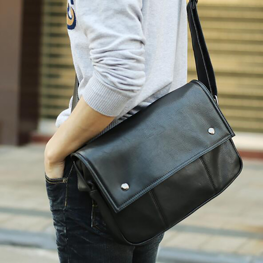Messenger bags for high school - New Fashion Men Pu Leather Messenger Bag Male Single Shoulder Tablet Pc School Satchel High Quality Cross Body Casual Travel Bag