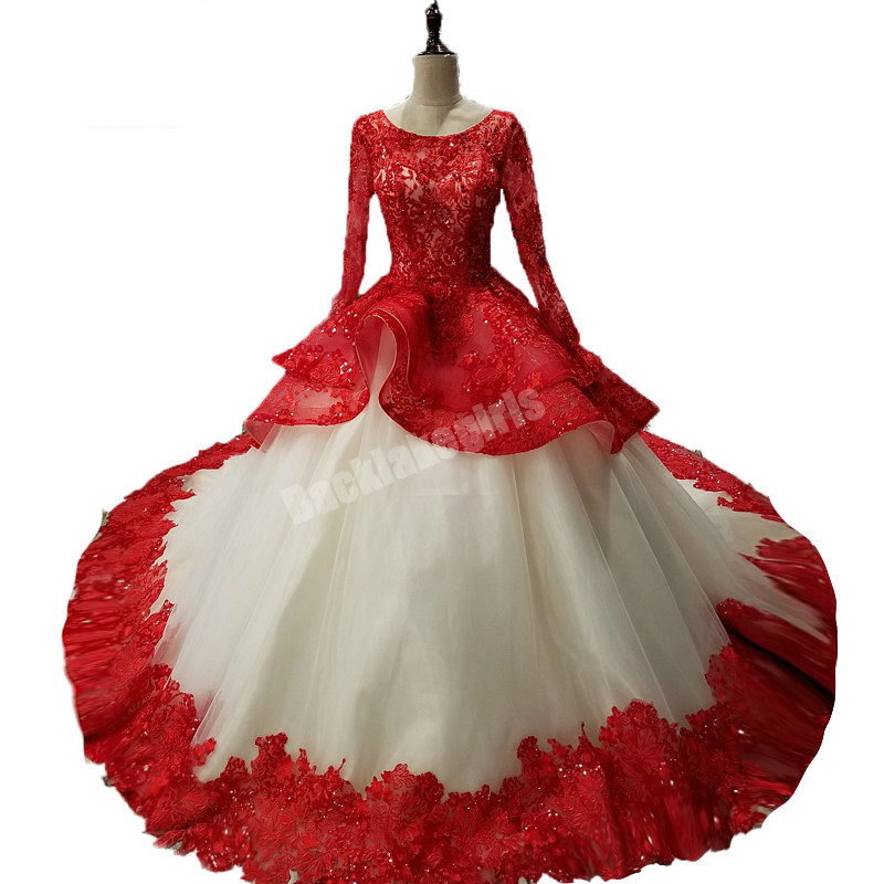 Long Prom Dress 2018 Puffy Ball Gown Ruffls Skirt Champagne And Red ...