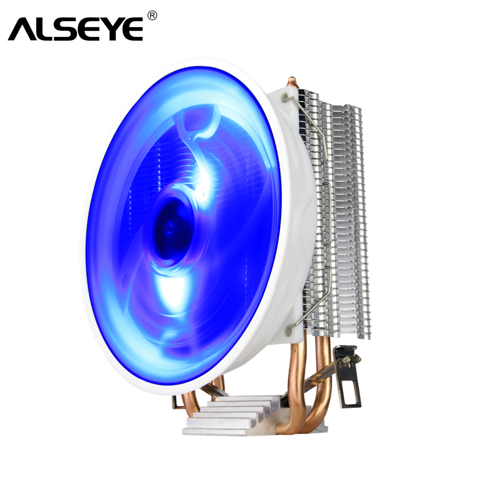 ALSEYE CPU Cooler 2 Heat pipes LED CPU Fan for LGA 775/1150/1151/1155/1156/1366, AM4/AM3/AM2 image
