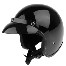 1 Piece MagiDeal ABS Plastic Open Face 3/4 Motorcycle Helmet Racer Retro with Sun Visor Bright Black XL