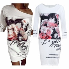 2016 Women Letter and Flower Print Dress Woman Fashion Elegant Party Short Dress Causal Tshirt Dress