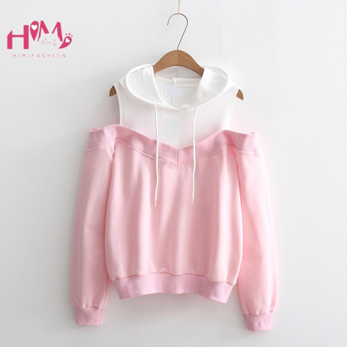 Spring Korean Lovely Women Cute Sweatshirts Mori Girl Off Shoulder Kawaii Pink Hoodies Teenager Kpop Fake 2 Piece Clothes