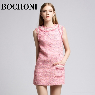 2018 Bochoni new Tweed wool pink bottoming dress
