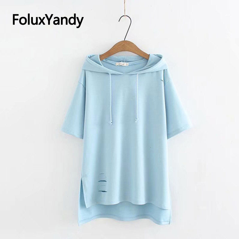 New Hole Short Sleeve T shirt Women Tops Casual Plus Size XXXL Loose Hooded Summer Tops KKFY3475 in T Shirts from Women 39 s Clothing
