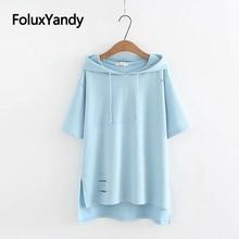 купить New Hole Short Sleeve T-shirt Women Tops Casual Plus Size XXXL Loose Hooded Summer Tops KKFY3475 по цене 1075.97 рублей