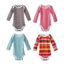 5 Pieces / Lot Colorful Baby Bodysuits 0M-24M Longsleeve Boy Girl Jumpsuit Infant Clothing Baby Rumper Children's Birthday Gift