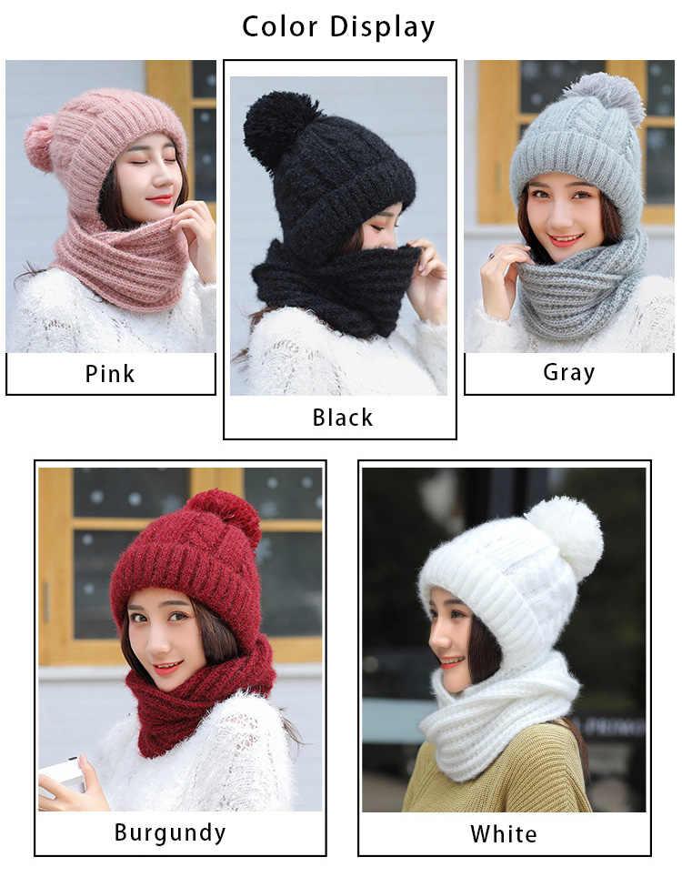 新ニットフード付き無限女性の冬の暖かいビーニー固体ファッションかわいい女性のスカーフキャップ厚く暖かい Lic スカーフ 2/セット