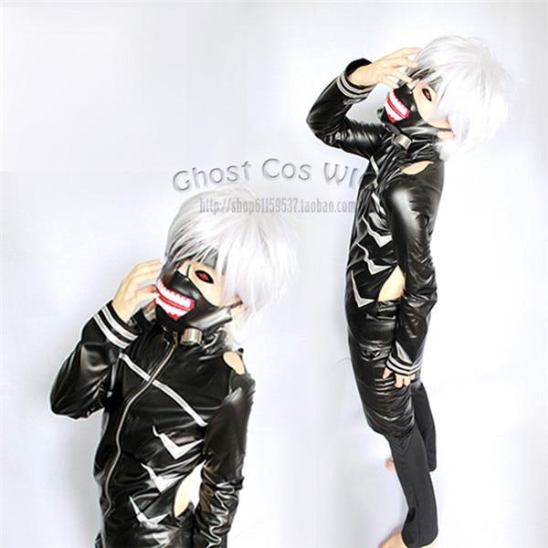 Teljes készlet Anime Tokyo Ghoul Kaneki Ken japán Cosplay jelmez halloween 3 1 PU felső + nadrág + rövidnadrág