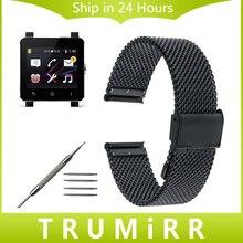 24mm Milanese Bracelet Maille En Acier Inoxydable pour Sony Smartwatch 2 SW2 Smart Watch Band Bracelet Bracelet Lien avec Outil et Pins