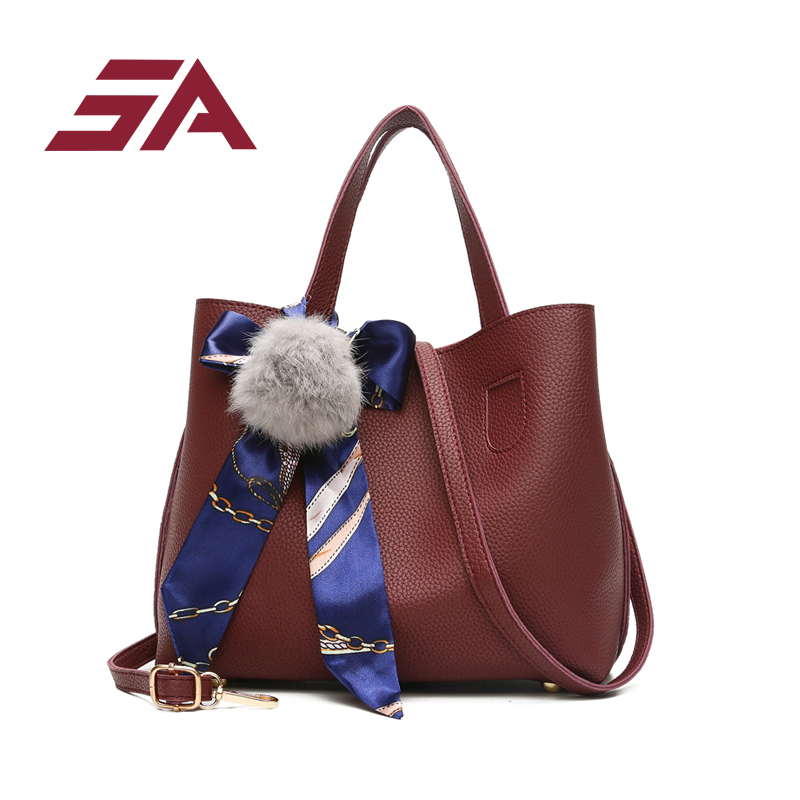 SA Litchi Pattern Soft PU Leather Women Handbag 2 sets Female Shoulder Bag female Messenger bag Casual Women tote composite Ba