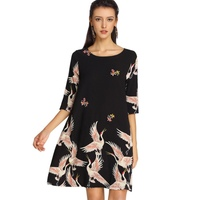 Vintage Chic Floral Bird Print Mid Dress Women 2018 New Fashion Spring Loose Dresses Casual O
