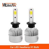 Meilistar S2 H1 72W Pair COB Car LED Headlight Bulbs 6500K 8000LM Single Beam Automobile Headlights