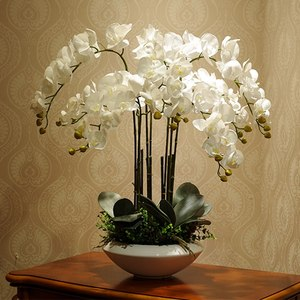 Image 2 - Artificial big size PU real touch hand feeling orchid flower arrangement bonsai flower only no vase luxious flower bouquet