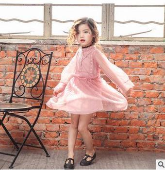 2018 Girls spring lace chiffon long sleeve dresses , birthday dress , cinderella dress , 5pcs/lot  WJ01