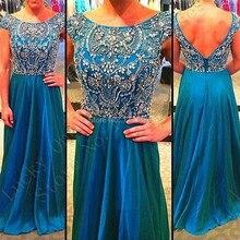 Voll Sexy Ice Blue Langer Abschlussball Kleidet 2016 Vestidos De Festa Scoop Kappe Kristall Elegante Frauen Lange Abendkleider Schnelle lieferung