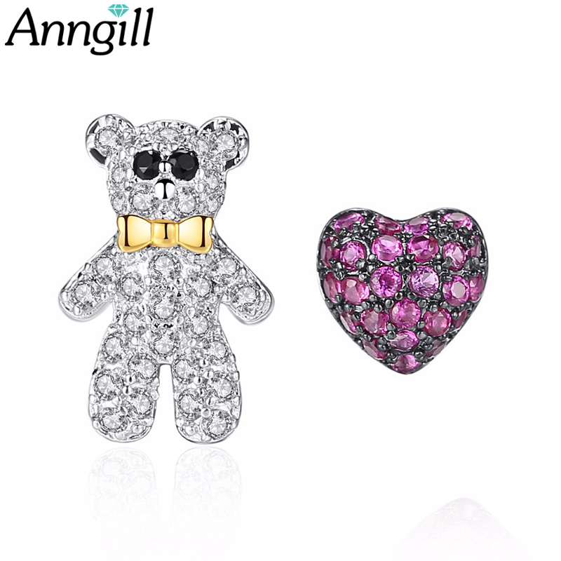 ANNGILL New Lovely Cute Bear Love Heart Stud Earrings For Women Girl Asymmetric Tiny Zirconia Brincos Dress Party Accessories