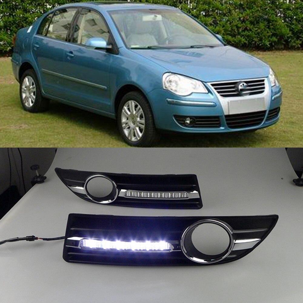 CSCSNL 1 set 12V LED DRL Daytime Running Lights With ABS fog lamps Cover For VW
