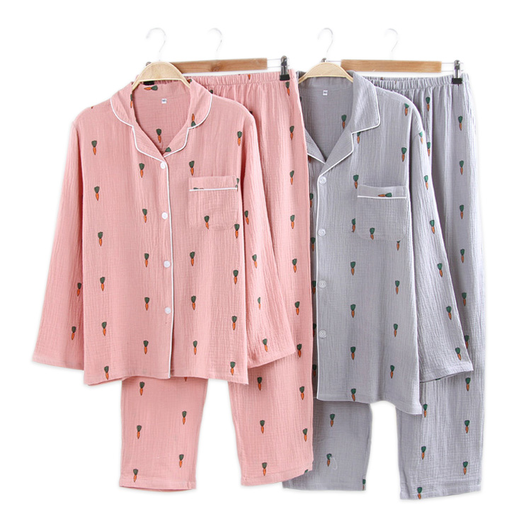 Crepe Cotton Fresh Carrots Family Pajamas Sets Women  Cotton Couples Casual Long Sleeve Sleeping Clothes Homewear