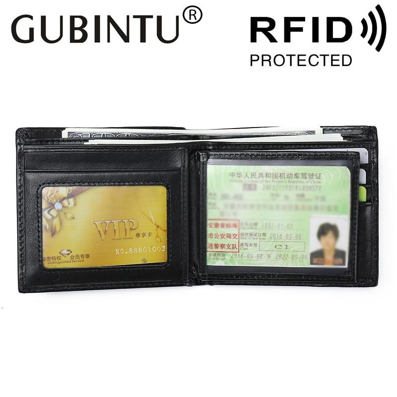 Gubintu Fashion Genuine Leather Men Rfid Wallet Male Purse Short Perse Small Walet Slim Cuzdan For Vallet Card Holder Money Bag