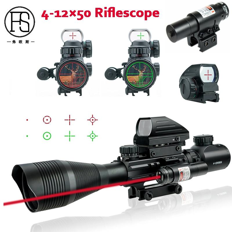 CVLIFE 4-12x50 EG Illuminated Rangefinder Reticle Rifle Scope Holographic 4 Reticle Sight Red Laser Riflescope tactical 3 9x32 riflescope blue illuminated rangefinder reticle hunting scope with red laser