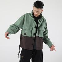 Mens Jackets Japanese Vintage Color Block Patchwork Army Green Jacket Streetwear Hip Hop Bomber Jackets Fashion Autumn 50JK061