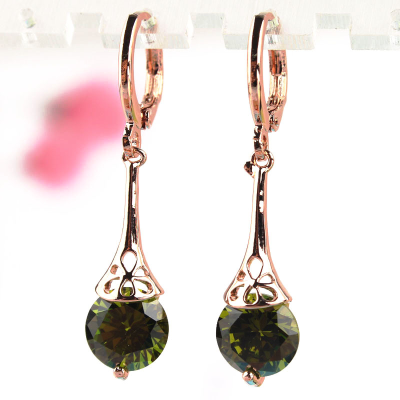 Hot Sale Green Crystal Long Earrings Fashion Women Gold Color CZ Crystal Pierced Drop Dangle Earrings Party Jewelry