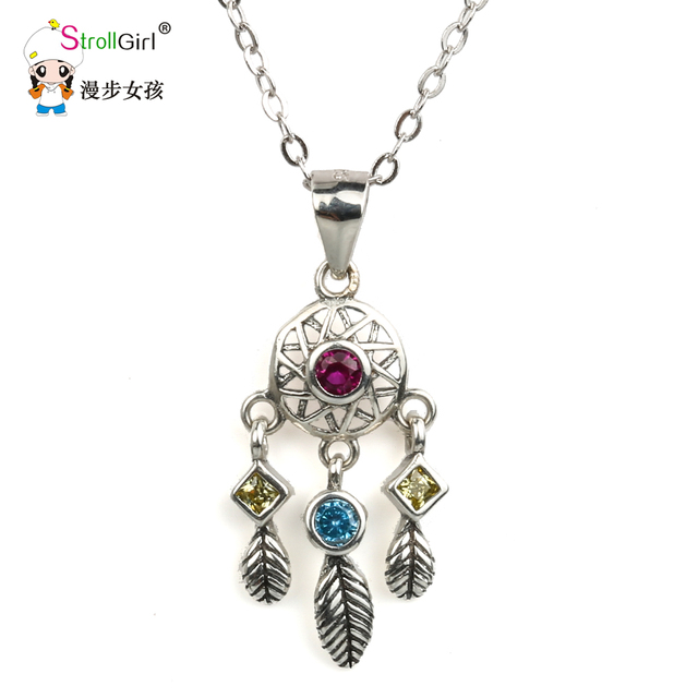 Strollgirl 925 sterling silver dreamcatcher pendants necklaces for strollgirl 925 sterling silver dreamcatcher pendants necklaces for women silver chain leaves pendant necklace fashion aloadofball Choice Image