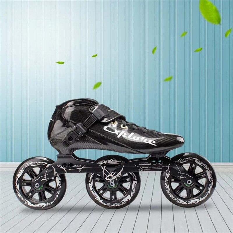 Homme et femme fibre de carbone patins de vitesse en ligne chaussures rose rouge noir jaune EUR 30 à 45 3X125mm 125 MM patin à roulettes pour MPC PS KR