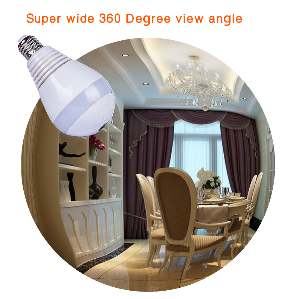 HDGVISION Bulb Light Wireless IP Camera Panoramic Wireless IP Camera Mini CCTV 3D VR Camera 2.0MP Home Security WiFi Camera