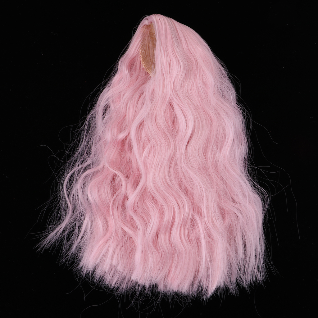 1/4 BJD Long Loose Wave Wig Hairpiece For Dollfie MSD DZ Dolls Clothes Decor Kits Pink