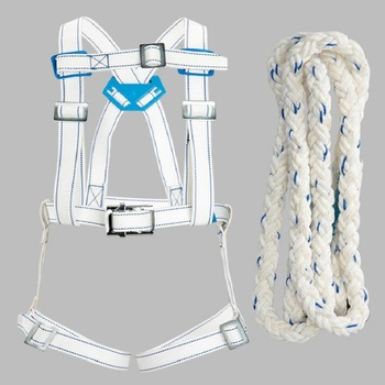 outdoor construction anti-falling seat belts +rope set high altitude work Full body flame retardant safety belt CE certification