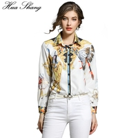 2018 Spring Women Blouse Shirt Turn Down Collar Long Sleeve Lady Office Shirt Retro Vintage Printing