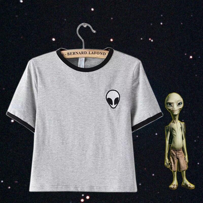 short sleeve alien t shirts kawaii clothes crop top tee