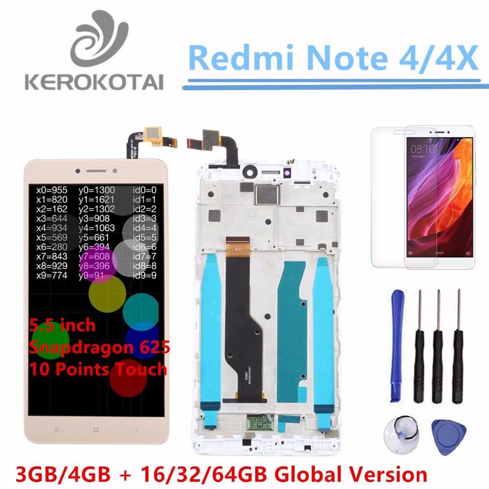 Für Xiaomi Redmi Hinweis 4X Globale Version Snapdragon 625 LCD Display Touchscreen Digitizer Redmi Hinweis 4X Lcd Mit rahmen