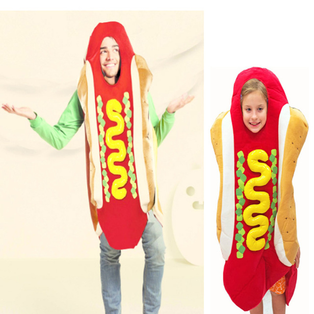 halloween party cosplay fast food hot dog sandwich costume children and adult jumpsuit