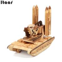 Wooden Simulation Rocket Car Model Kids Toys Crafts Home Office Decoration