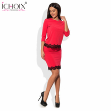 Women's Fashion Vintage Summer Dresses O-Neck Slim Work Knee Length dresses